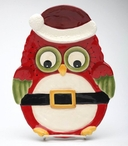 Christmas Owl Bird Porcelain Chip and Dip Set by Laurie Furnell