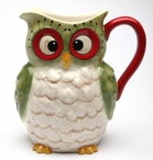 Christmas Owl Bird Porcelain Pitcher by Laurie Furnell