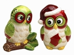Christmas Owl Bird Salt and Pepper Shakers by Laurie Furnell, Set of 4
