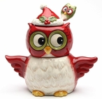 Christmas Owl Bird Sugar and Creamer Set with Spoon by Laurie Furnell