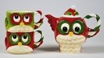 Christmas Owl Bird Tea For Two Porcelain Teapot by Laurie Furnell