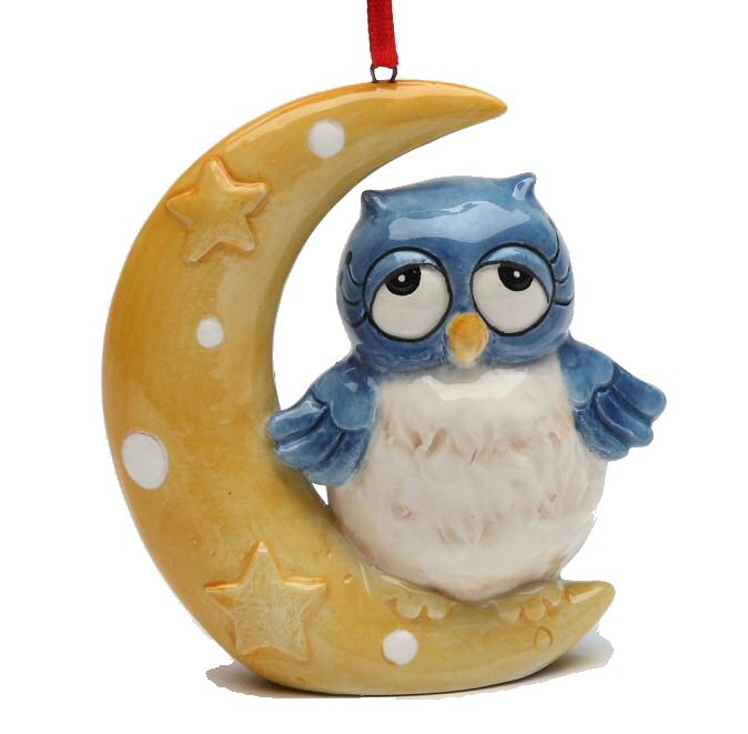christmas owl on the moon tree ornaments by laurie furnell set of 4