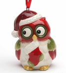 Christmas Owl with Stocking Tree Ornaments by Laurie Furnell, Set of 4