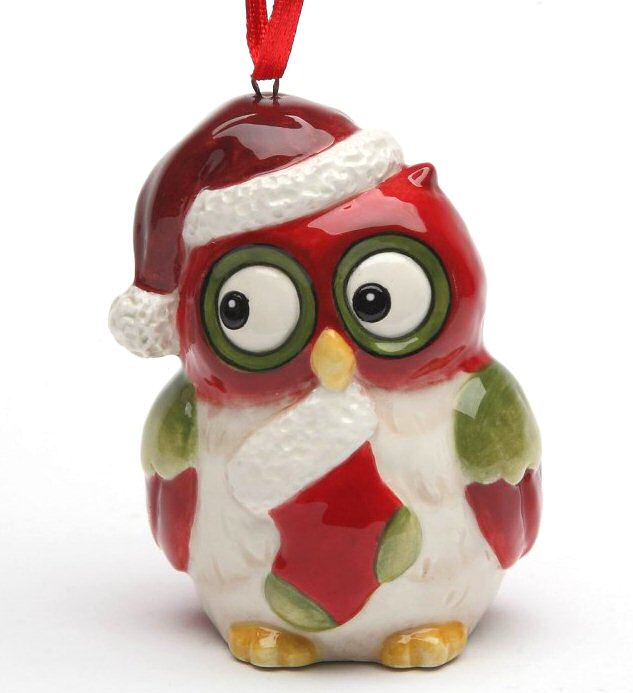christmas owl with stocking tree ornaments by laurie furnell set of 4