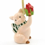 Christmas Pig with Gift Christmas Tree Ornaments, Set of 4