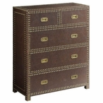 Churchill Faux Leather 5 Drawer Wood Chest w/ Ant. Gold Nailhead Trim