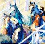 Chutes and Alleys Horses Running Wrapped Canvas Giclee Print Wall Art