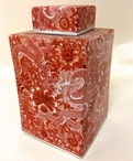 Cinnabar Square Porcelain Tea Jar