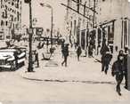 City Sidewalk Cityscape Wrapped Canvas Giclee Print Wall Art