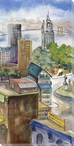 City Sketch Cityscape III Wrapped Canvas Giclee Print Wall Art
