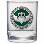Claddagh Green Pewter Accent Double Old Fashion Glasses, Set of 2