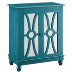 Clairemont Turquoise 2 Door MDF Wood and Mirror Cabinet