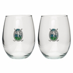 Classic Golfer Green Pewter Stemless Wine Glass Goblets, Set of 2