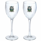 Classic Golfer Green Pewter Accent Wine Glass Goblets, Set of 2