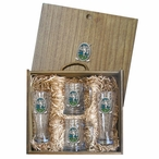 Classic Golfer Green Pilsner Glasses & Beer Mugs Box Set with Pewter