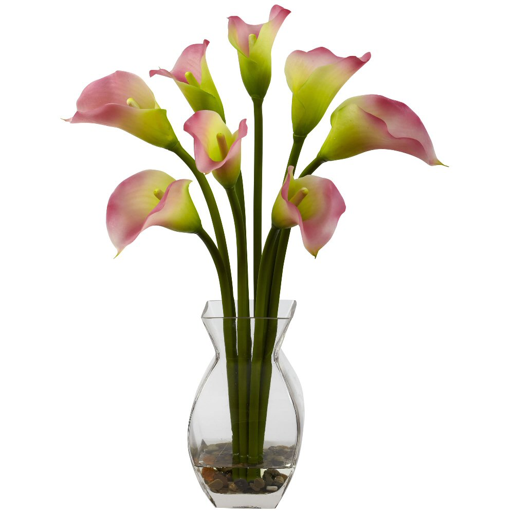Classic Pink Calla Lily Silk Flower Arrangement Artificial Flowers