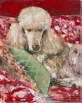 Classic Poodle Dog Wrapped Canvas Giclee Print Wall Art