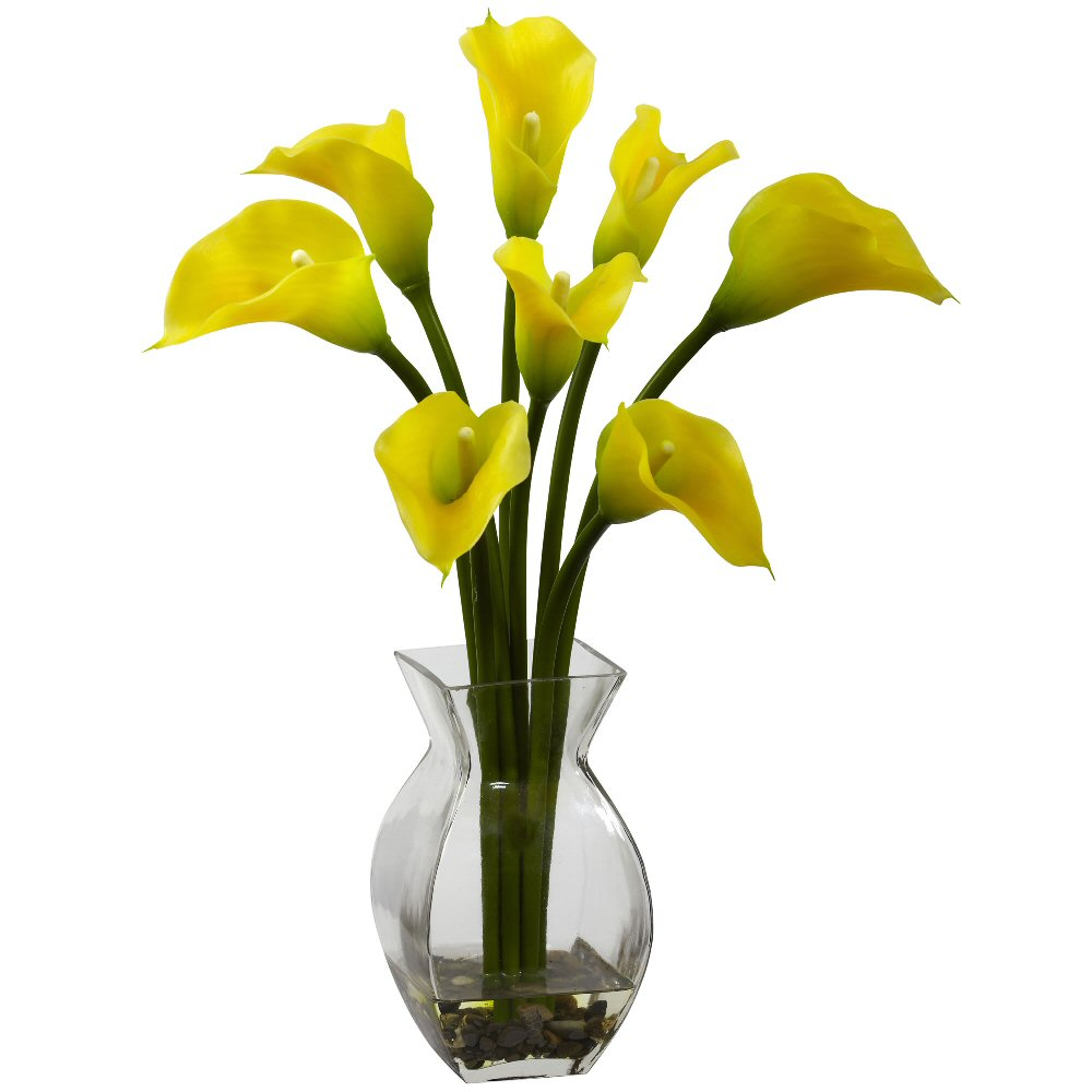Classic Yellow Calla Lily Silk Flower Arrangement Artificial