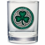 Clover Green Pewter Accent Double Old Fashion Glasses, Set of 2