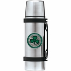 Clover Green Stainless Steel Thermos with Pewter Accent
