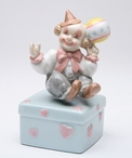 Clown Holding a Ball Musical Music Box Sculpture