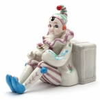 Clown Leaning Against Luggage Porcelain Musical Music Box Sculpture