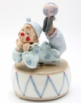 Clown on a Drum Porcelain Musical Music Box Sculpture
