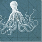 Coastal Menagerie Octopus VII Wrapped Canvas Giclee Print