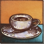 Coffee on Orange Wrapped Canvas Giclee Print Wall Art