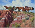 Colored Clay & Quarter Horses Wrapped Canvas Giclee Print Wall Art