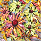 Colorful Daisy Flowers Wrapped Canvas Giclee Print Wall Art