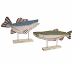Colorful Flat Fish Sculptures, Set of 2
