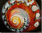 Colorful Moon Shell 1 Wrapped Canvas Giclee Print Wall Art