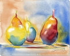 Colorful Pear Trio Wrapped Canvas Giclee Print Wall Art