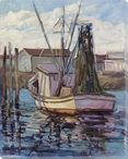 Coming in Boat Wrapped Canvas Giclee Print Wall Art