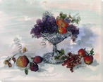 Compote with Assorted Fruits Wrapped Canvas Giclee Print Wall Art