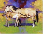 Contentment Mother Horse and Her Baby Wrapped Canvas Giclee Art Print
