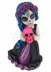 Cosplay Kids Day of the Dead Holding Pink Skull Sculpture