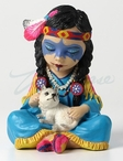 Cosplay Kids Indian Girl with Baby Wolf Sculpture