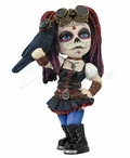Cosplay Kids Steam Punk Day of the Dead Kid Holding a Crow Sculpture