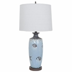 Costal Marine Ceramic Table Lamp with Cream Linen Shade