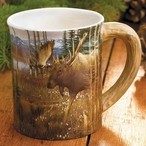 Cotton Grass Meadow Moose Sculpted Stoneware Coffee Mugs, Set of 6