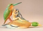 Couple on a Duck Seduction Sin Statue by Hieronymus Bosch