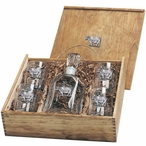 Cow Capitol Decanter & DOF Glasses Box Set with Pewter Accents
