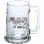Cow Glass Beer Mug with Pewter Accent