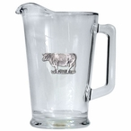 Cow Glass Pitcher with Pewter Accent