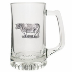 Cow Glass Super Beer Mug with Pewter Accent