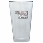 Cow Pint Beer Glasses with Pewter Accent, Set of 2