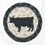 Cow Silhouette Braided Jute Coasters, Set of 8