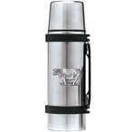 Cow Stainless Steel Thermos with Pewter Accent